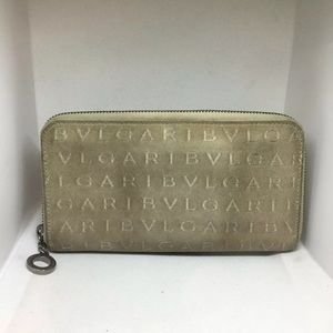 Authentic BVGARI Bulgari Beige Full Length Wallet